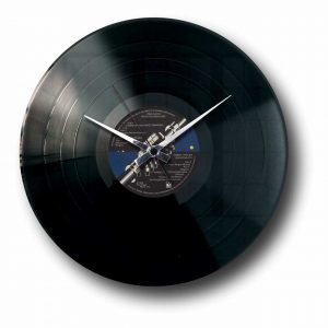 vinyl record clock with custom record label