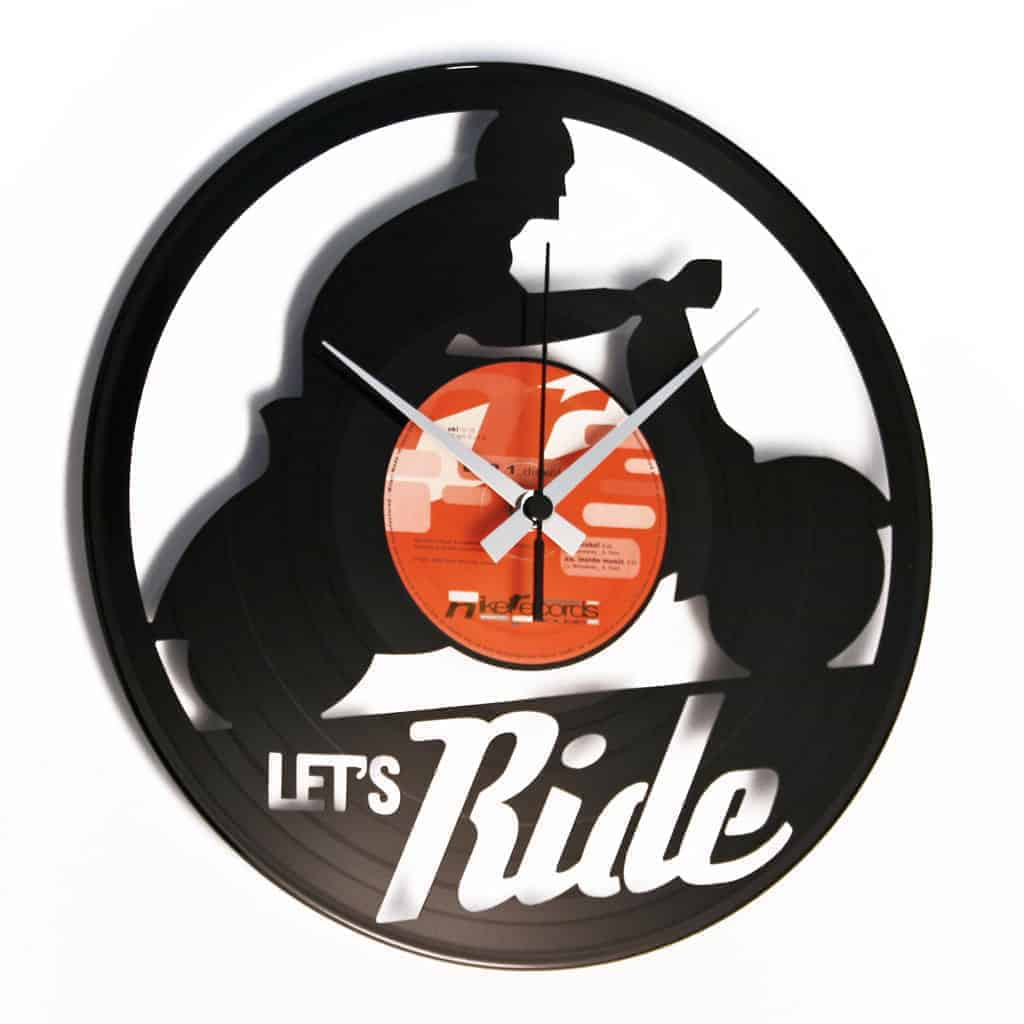 LET'S RIDE vinyl record clock