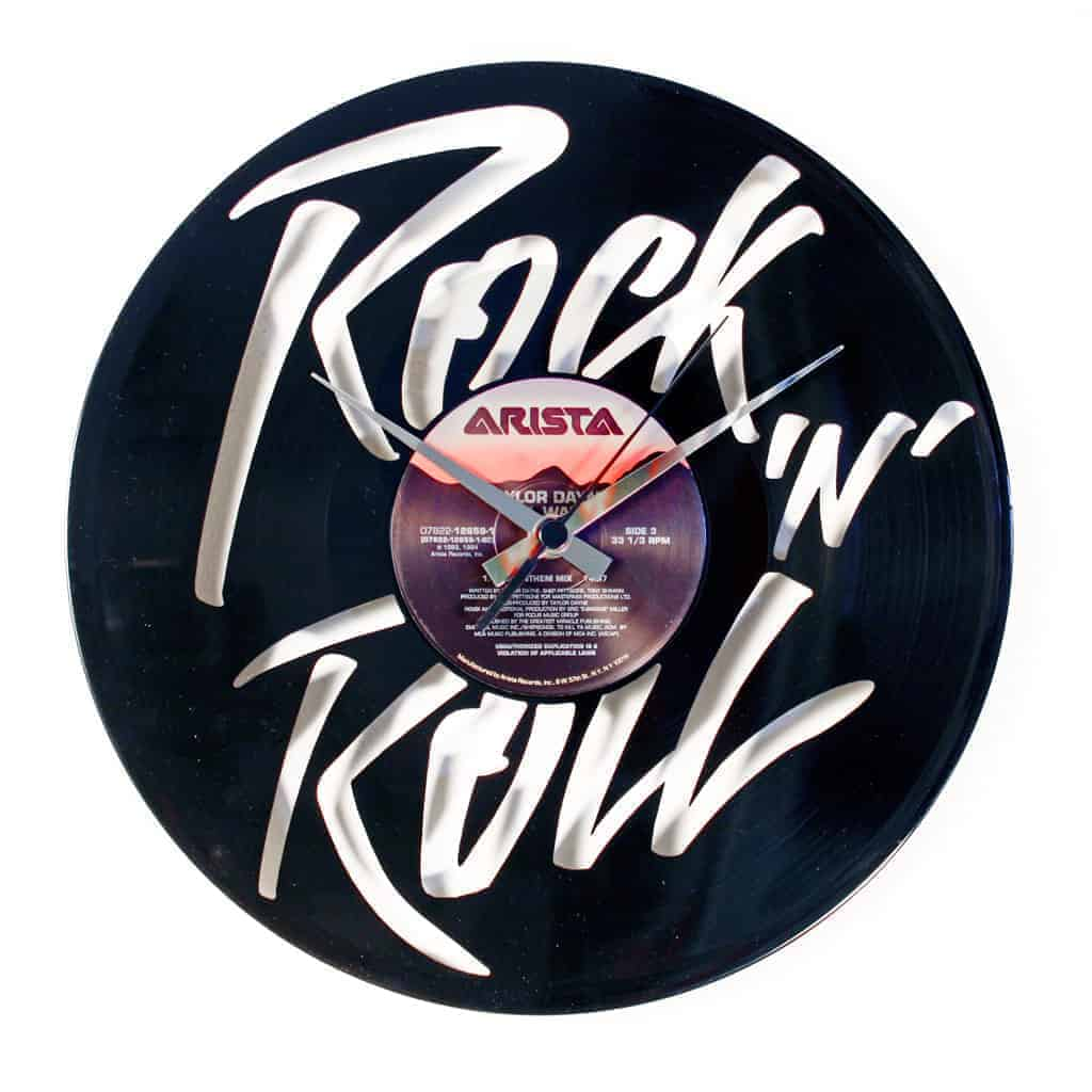 ROCK N ROLL vinyl record clock