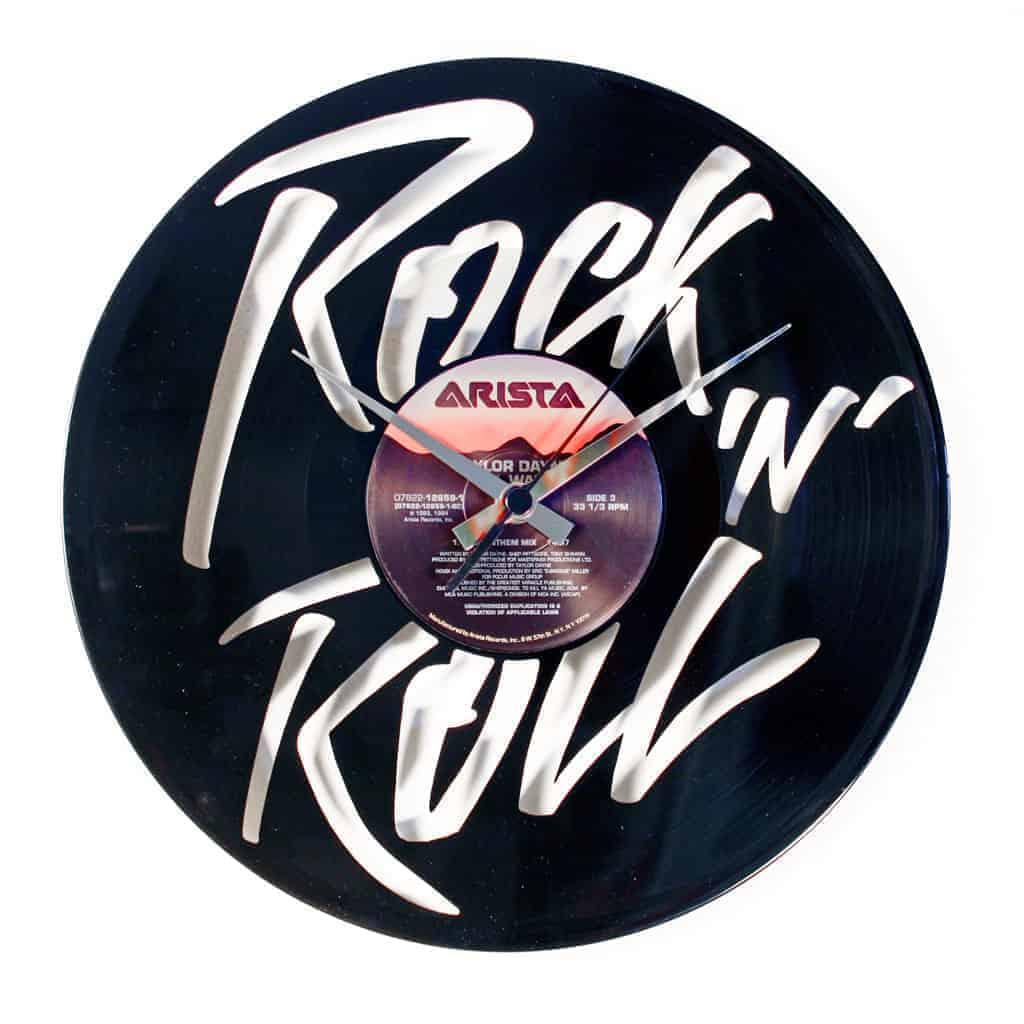 ROCK N ROLL vinyl record clock