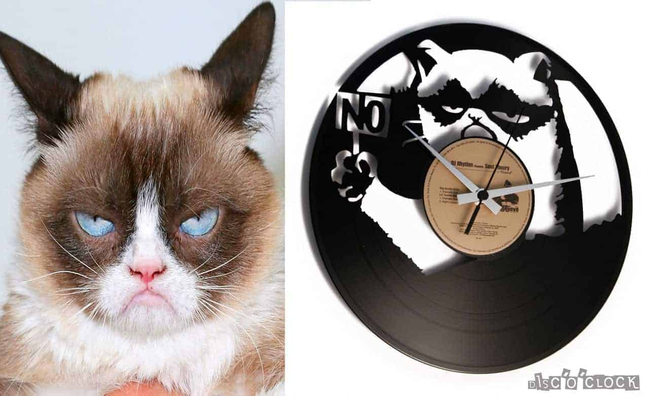 A CAT UNDER THE MOON vinyl record clock