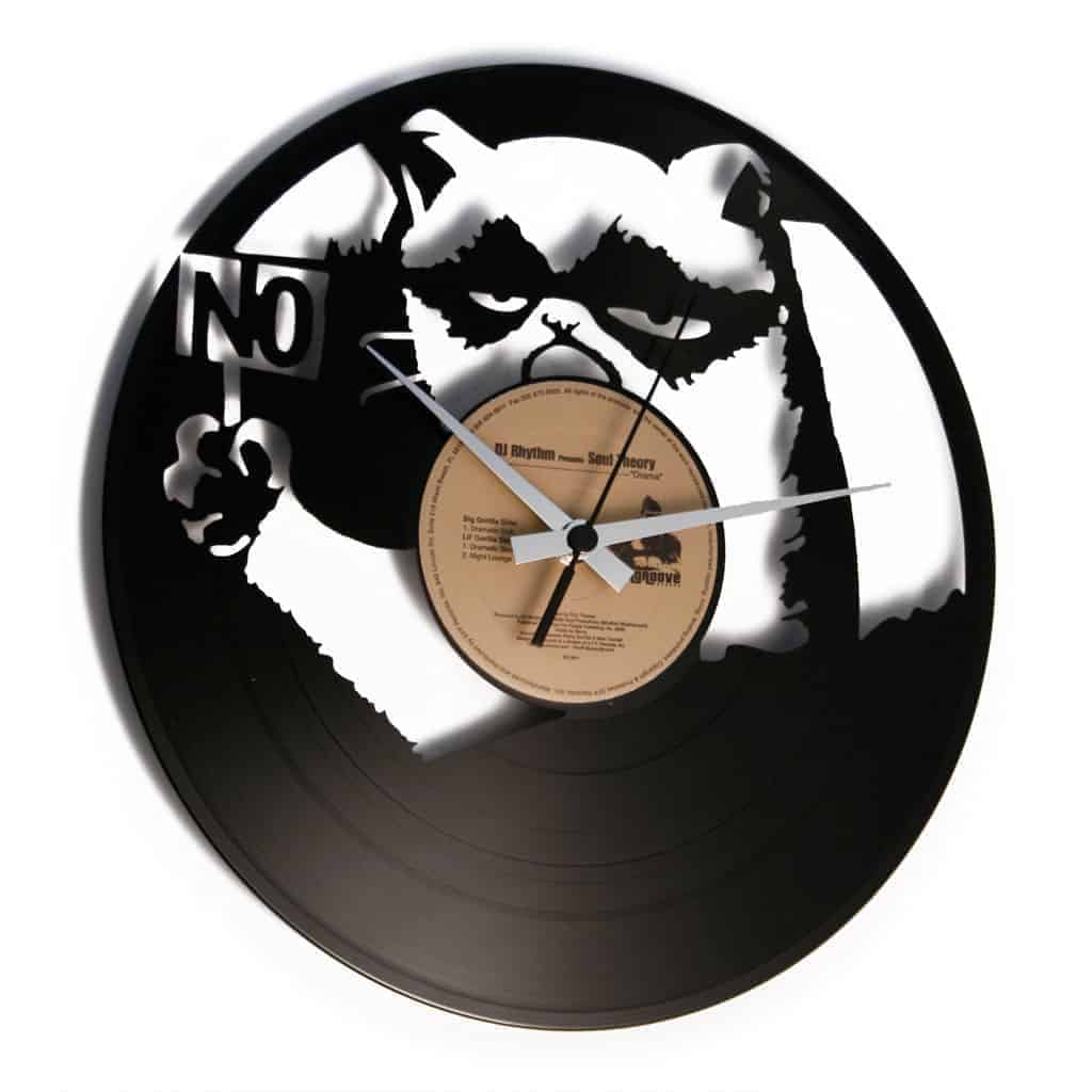 grumpy cat vinyl record clock