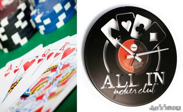 ALL IN POKER CLUB vinyl record clock
