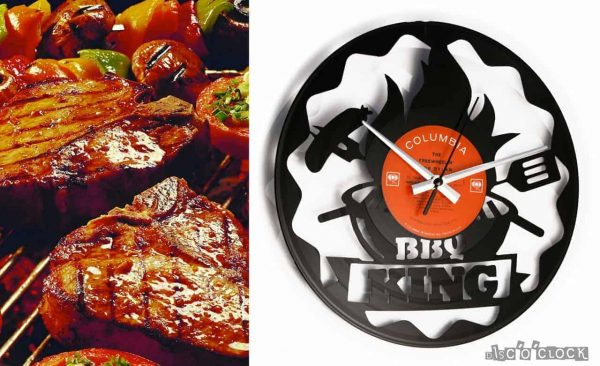 BBQ KING vinyl record clock