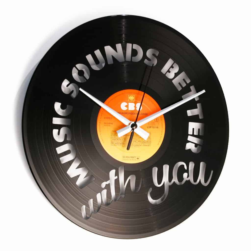 MUSIC SOUNDS BETTER WITH YOU VINYL RECORD CLOCK