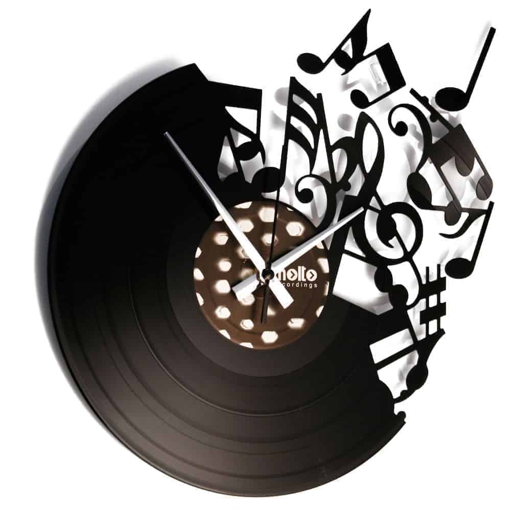 music notes vinyl record clock