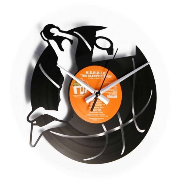 basket vinyl record clock