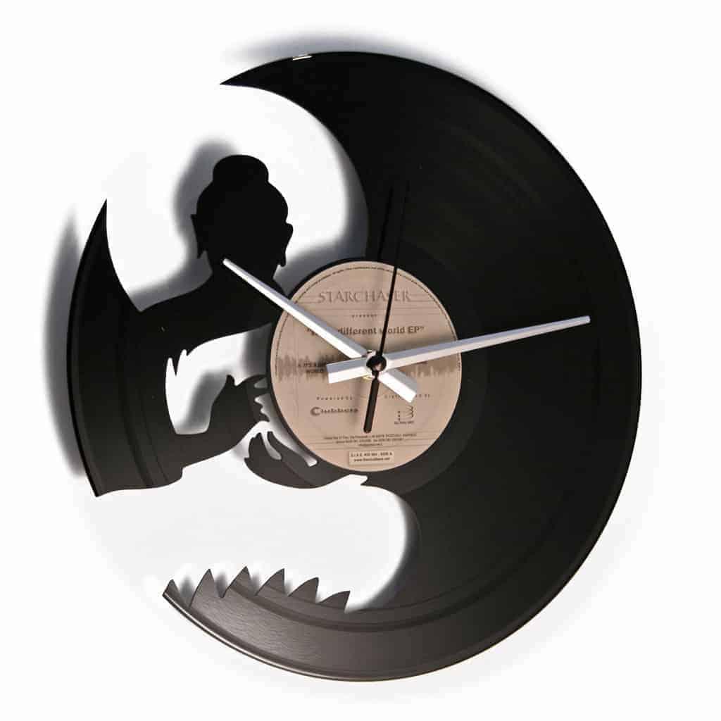 Buddha vinyl record clock