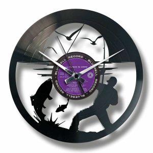 GONE FISHIN' vinyl record clock