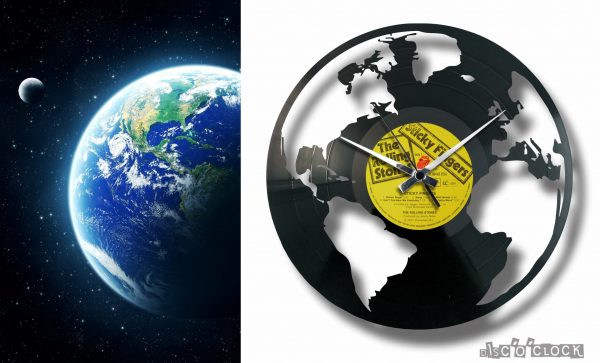 earth shaped record clock