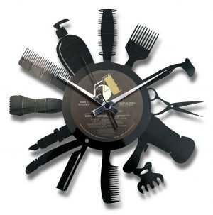 HAIR SALOON vinyl record clock