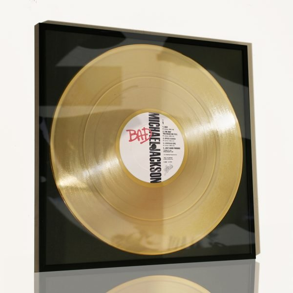MICHAEL JACKSON – BAD: FRAMED GOLD PLATED VINYL RECORD