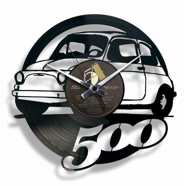 fiat 500 vinyl record clock