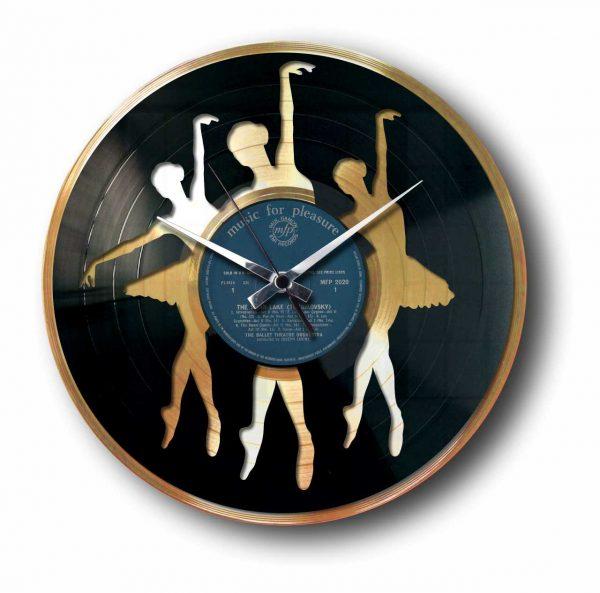 ballet gold vinyl record clock