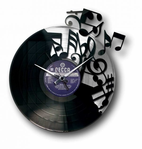 silver vinyl record clock with music notes