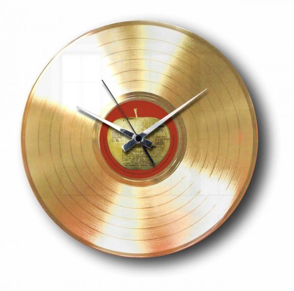 gold plated vinyl record clock with custom label