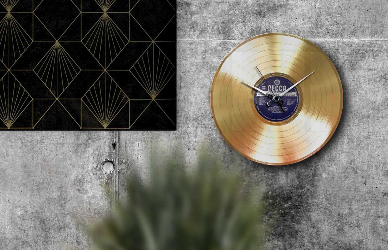gold record wall clock